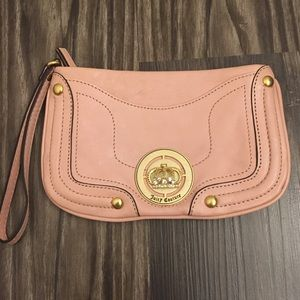 Juicy Couture Leather Crown Wristlet Light Pink